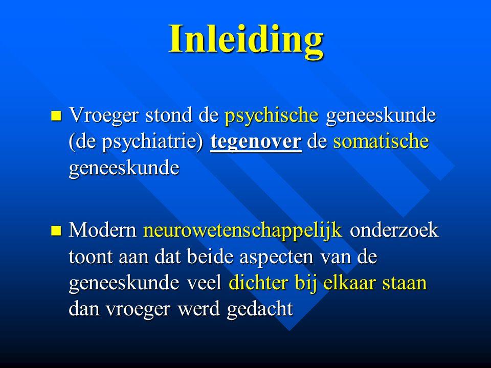 Inleiding Vroeger stond de psychische geneeskunde (de psychiatrie) tegenover de somatische geneeskunde Vroeger stond de psychische geneeskunde (de psy