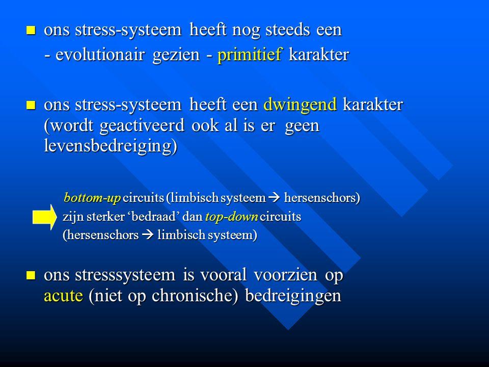ons stress-systeem heeft nog steeds een ons stress-systeem heeft nog steeds een - evolutionair gezien - primitief karakter - evolutionair gezien - pri
