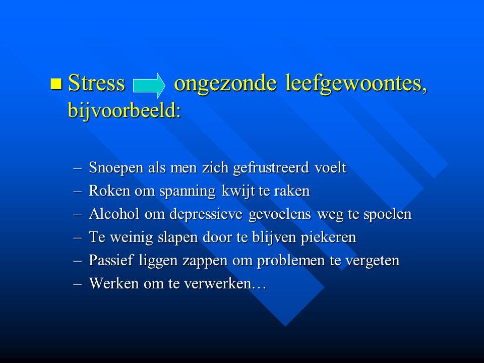Stress ongezonde leefgewoontes, bijvoorbeeld: Stress ongezonde leefgewoontes, bijvoorbeeld: –Snoepen als men zich gefrustreerd voelt –Roken om spannin