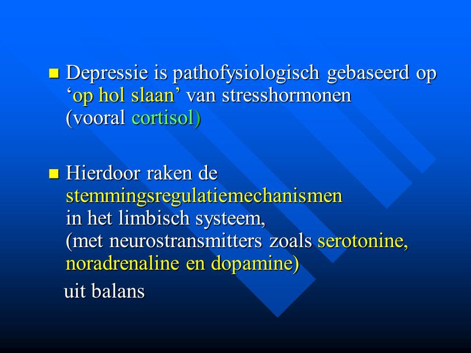 Depressie is pathofysiologisch gebaseerd op 'op hol slaan' van stresshormonen (vooral cortisol) Depressie is pathofysiologisch gebaseerd op 'op hol sl