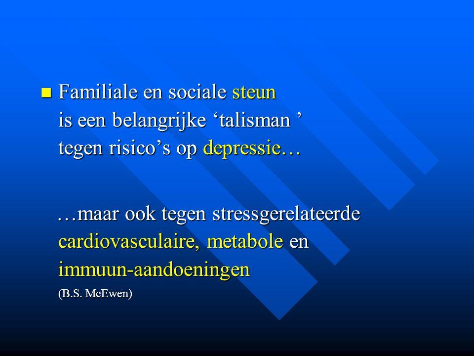 Familiale en sociale steun is een belangrijke 'talisman ' tegen risico's op depressie… Familiale en sociale steun is een belangrijke 'talisman ' tegen