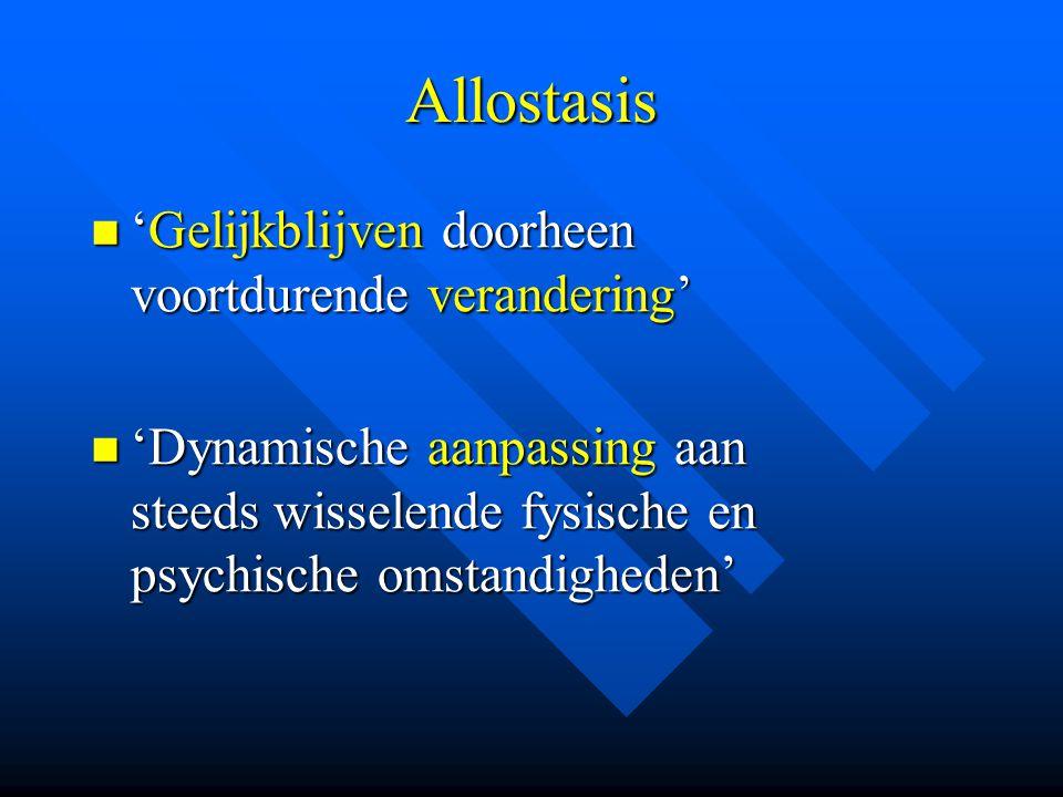 Allostasis 'Gelijkblijven doorheen voortdurende verandering' 'Gelijkblijven doorheen voortdurende verandering' 'Dynamische aanpassing aan steeds wisse