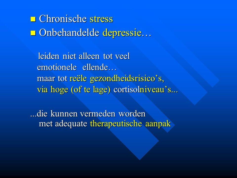 Chronische stress Chronische stress Onbehandelde depressie… Onbehandelde depressie… leiden niet alleen tot veel leiden niet alleen tot veel emotionele