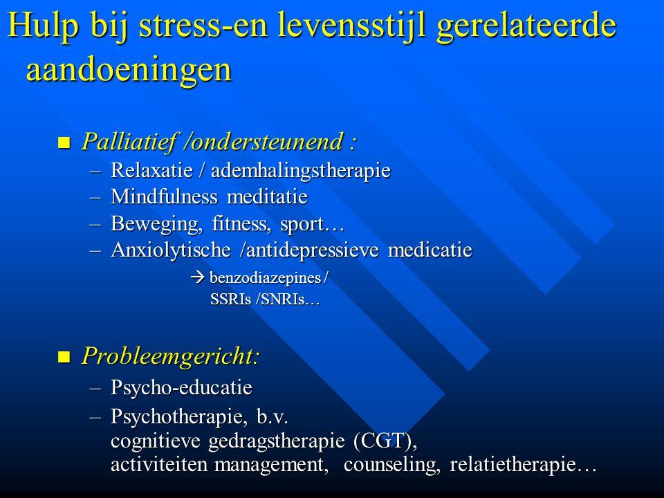 Hulp bij stress-en levensstijl gerelateerde aandoeningen Palliatief /ondersteunend : Palliatief /ondersteunend : –Relaxatie / ademhalingstherapie –Min