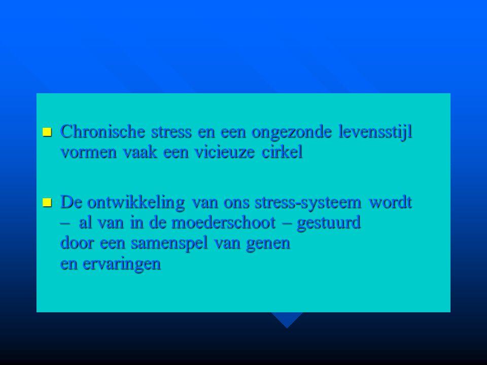 Chronische stress en een ongezonde levensstijl vormen vaak een vicieuze cirkel Chronische stress en een ongezonde levensstijl vormen vaak een vicieuze