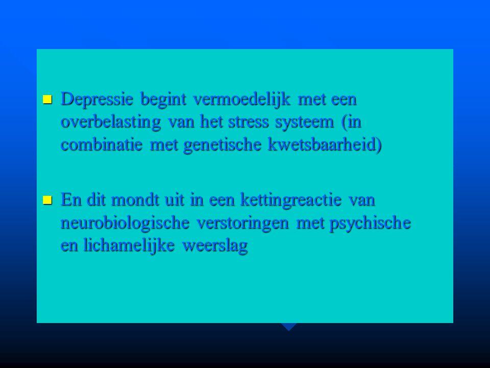Depressie begint vermoedelijk met een overbelasting van het stress systeem (in combinatie met genetische kwetsbaarheid) Depressie begint vermoedelijk