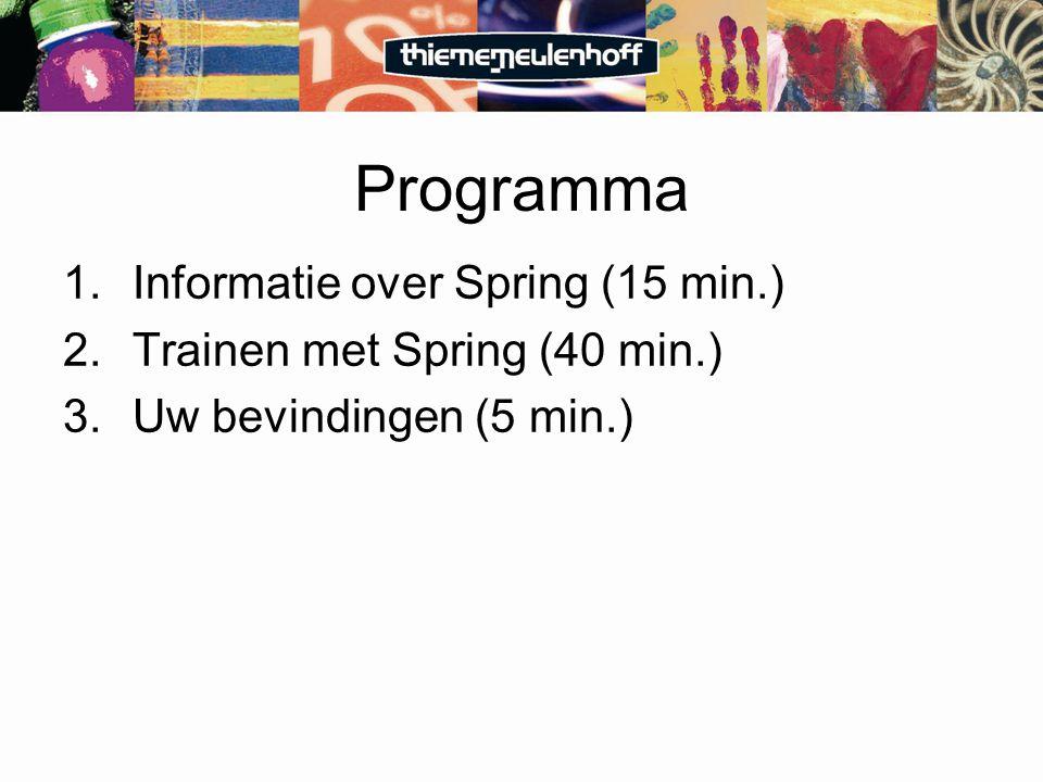 Programma 1.Informatie over Spring (15 min.) 2.Trainen met Spring (40 min.) 3.Uw bevindingen (5 min.)