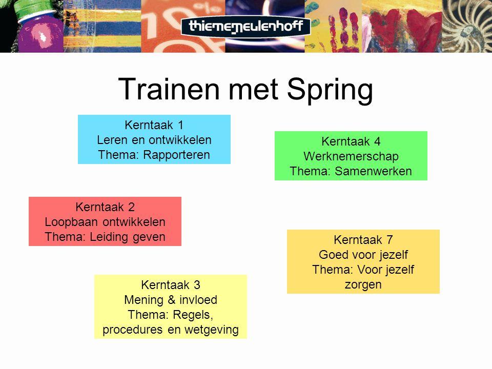 Trainen met Spring Kerntaak 1 Leren en ontwikkelen Thema: Rapporteren Kerntaak 2 Loopbaan ontwikkelen Thema: Leiding geven Kerntaak 3 Mening & invloed