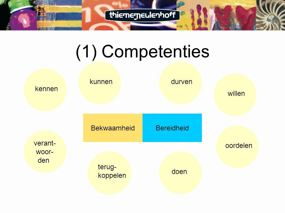 (1) Competenties terug- koppelen verant- woor- den BekwaamheidBereidheid doendurvenkunnenwillenoordelenkennen
