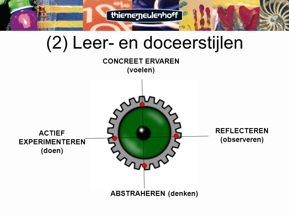 CONCREET ERVAREN (voelen) REFLECTEREN (observeren) ACTIEF EXPERIMENTEREN (doen) ABSTRAHEREN (denken) (2) Leer- en doceerstijlen