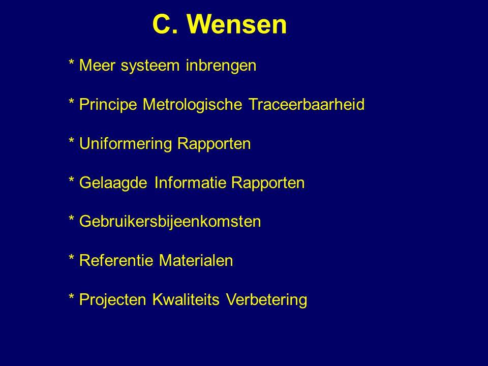 C. Wensen * Meer systeem inbrengen * Principe Metrologische Traceerbaarheid * Uniformering Rapporten * Gelaagde Informatie Rapporten * Gebruikersbijee