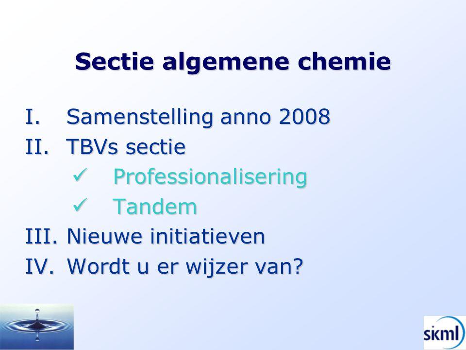 Sectie algemene chemie I.Samenstelling anno 2008 II.TBVs sectie Professionalisering Professionalisering Tandem Tandem III.Nieuwe initiatieven IV.Wordt