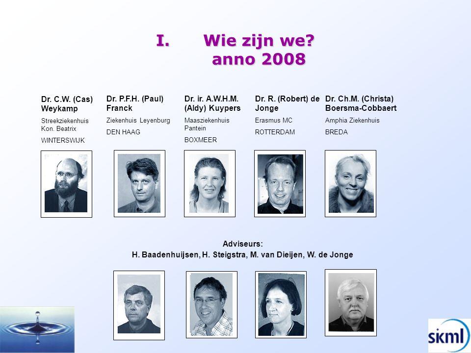 I.Wie zijn we? anno 2008 Dr. P.F.H. (Paul) Franck Ziekenhuis Leyenburg DEN HAAG Dr. C.W. (Cas) Weykamp Streekziekenhuis Kon. Beatrix WINTERSWIJK Dr. C