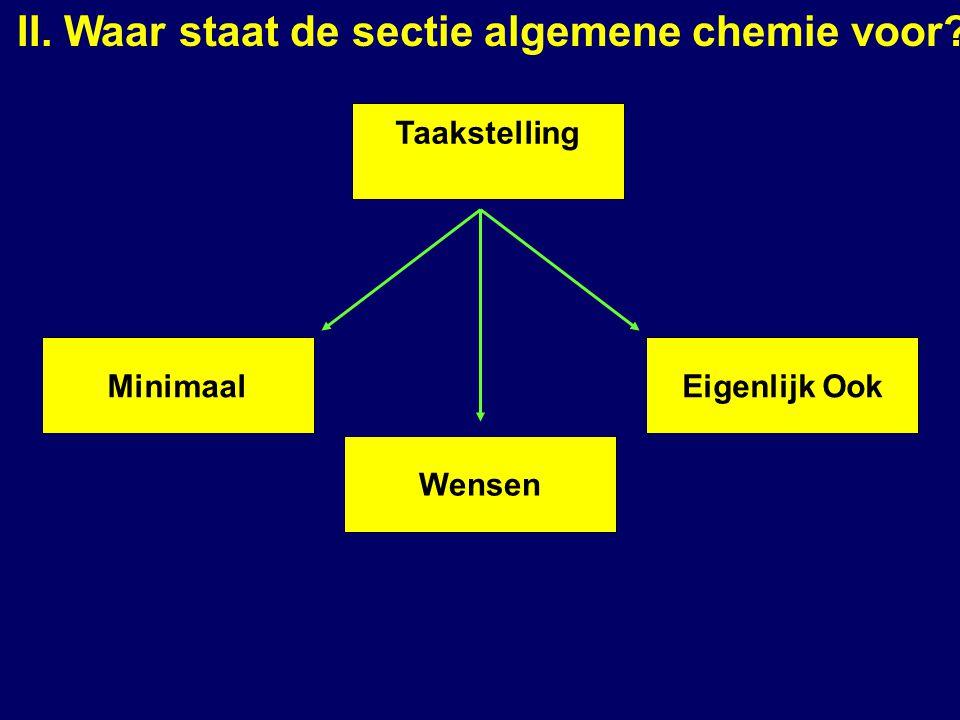 Taakstelling Eigenlijk Ook Wensen Minimaal II. Waar staat de sectie algemene chemie voor?