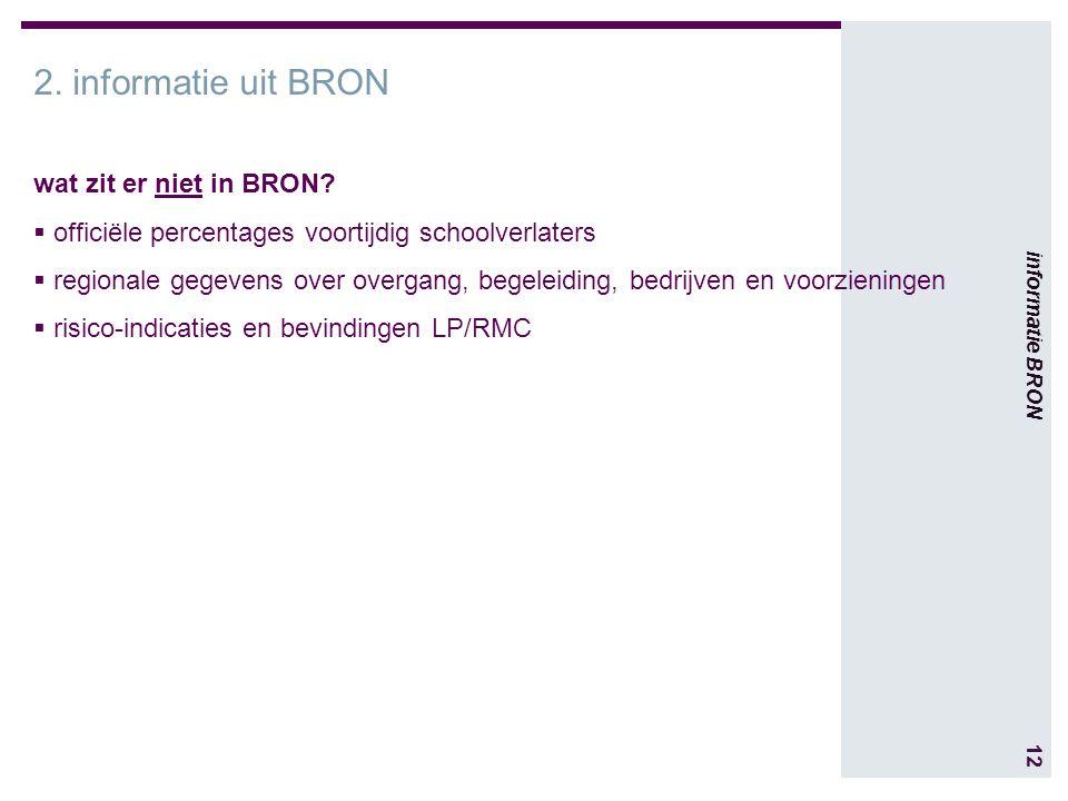 12 informatie BRON 2. informatie uit BRON wat zit er niet in BRON.