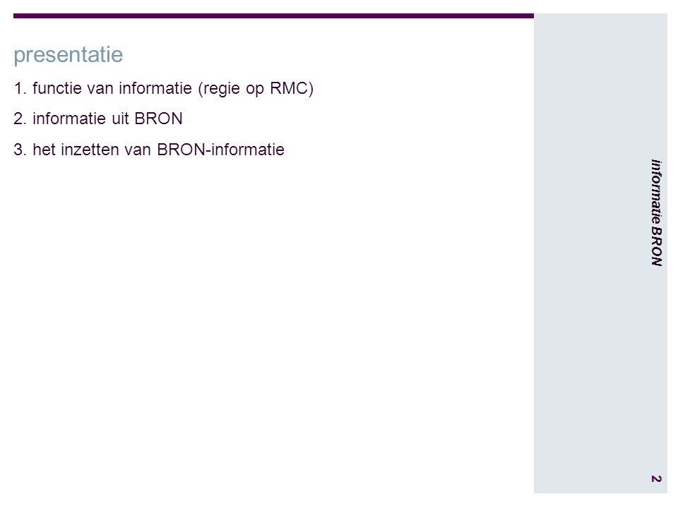 2 informatie BRON presentatie 1. functie van informatie (regie op RMC) 2.