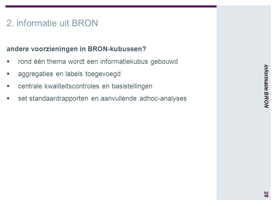 28 informatie BRON 2. informatie uit BRON andere voorzieningen in BRON-kubussen.
