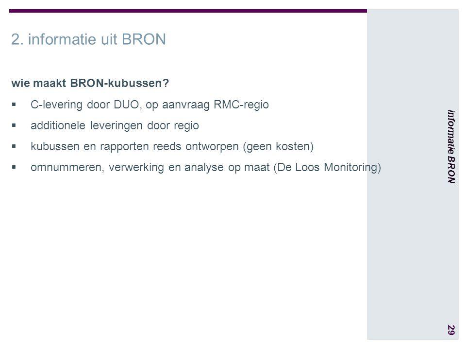 29 informatie BRON 2. informatie uit BRON wie maakt BRON-kubussen.