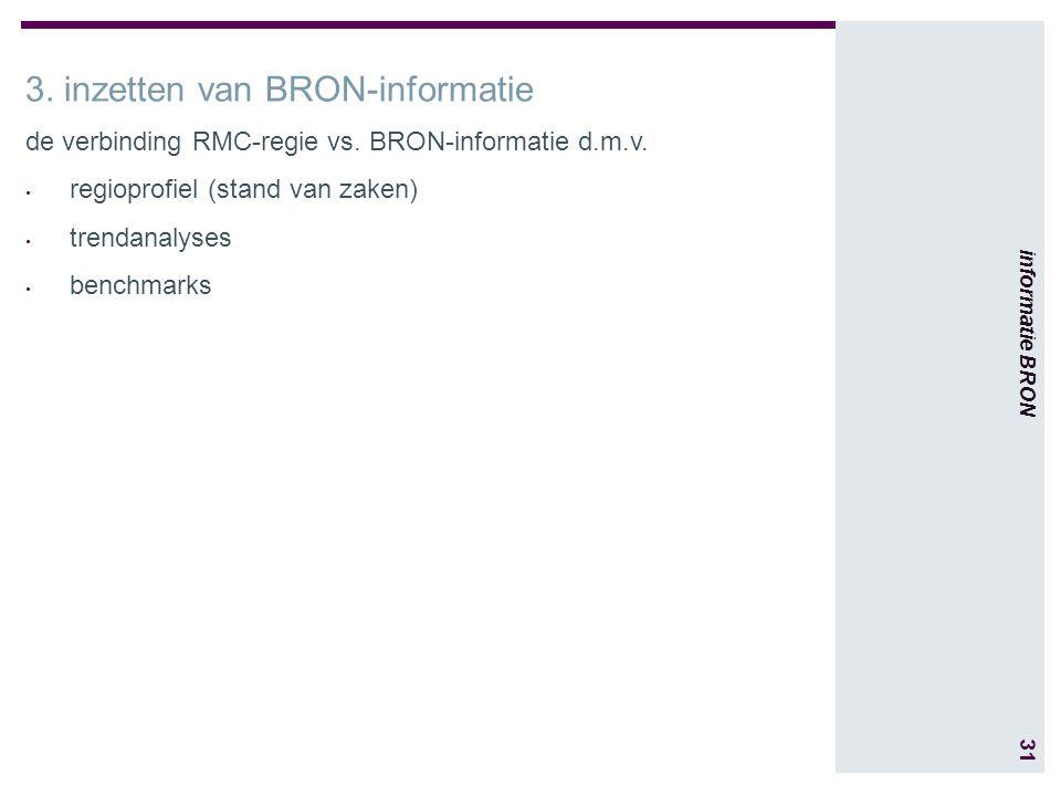 31 informatie BRON 3. inzetten van BRON-informatie de verbinding RMC-regie vs.