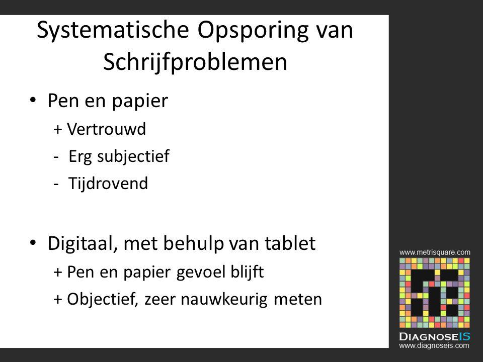 Systematische Opsporing van Schrijfproblemen Pen en papier + Vertrouwd -Erg subjectief -Tijdrovend Digitaal, met behulp van tablet + Pen en papier gevoel blijft + Objectief, zeer nauwkeurig meten