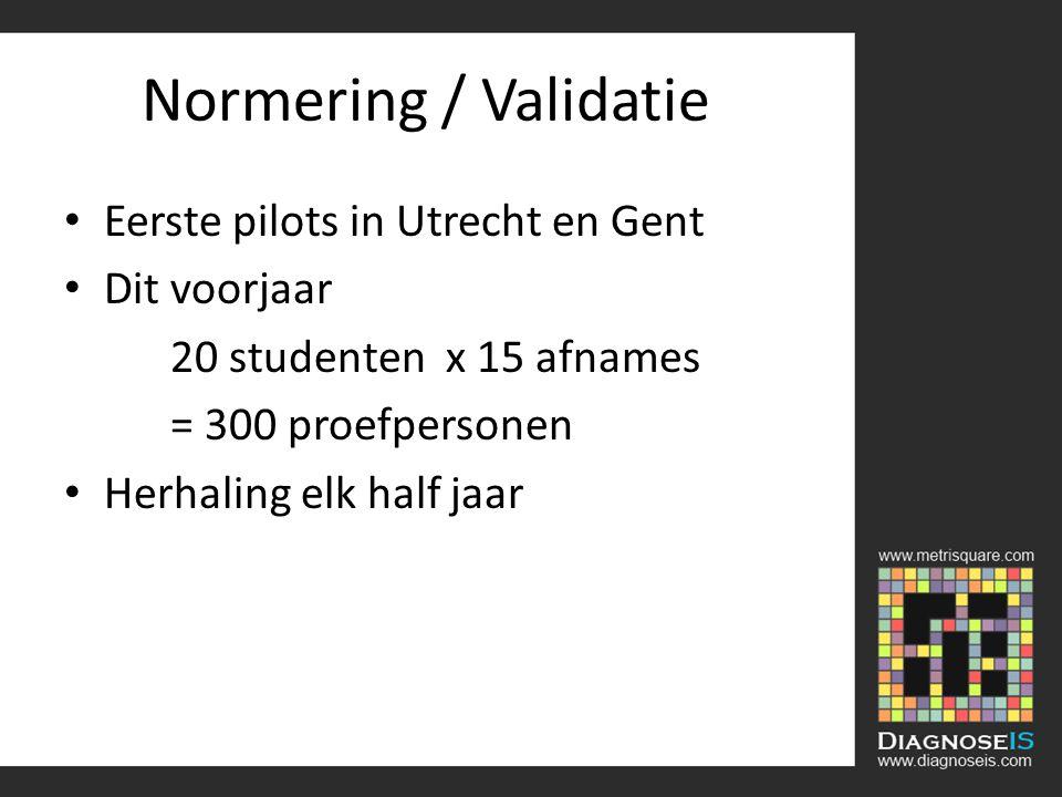 Normering / Validatie Eerste pilots in Utrecht en Gent Dit voorjaar 20 studenten x 15 afnames = 300 proefpersonen Herhaling elk half jaar