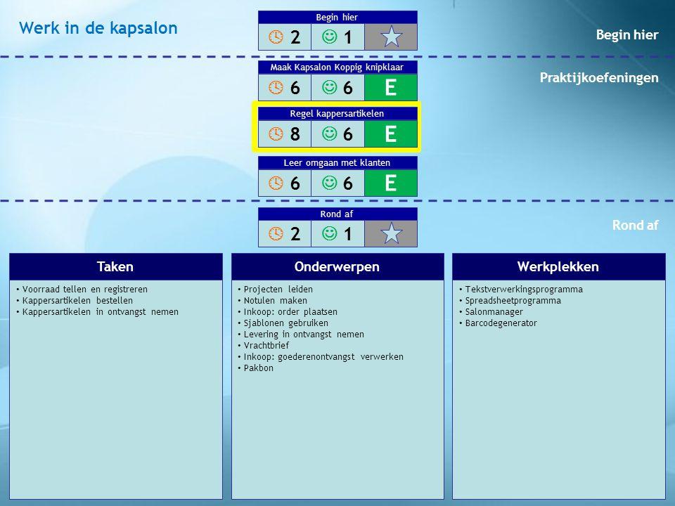 Voorraad tellen en registreren Kappersartikelen bestellen Kappersartikelen in ontvangst nemen Projecten leiden Notulen maken Inkoop: order plaatsen Sj