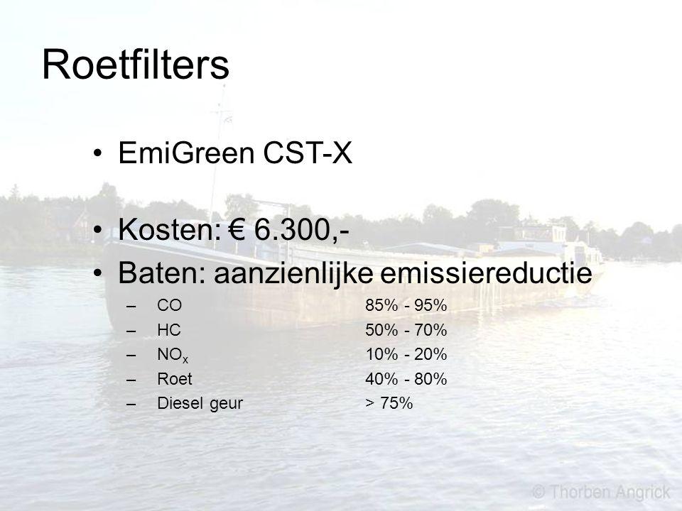 Roetfilters EmiGreen CST-X Kosten: € 6.300,- Baten: aanzienlijke emissiereductie – CO85% - 95% – HC50% - 70% – NO x 10% - 20% – Roet 40% - 80% – Diese