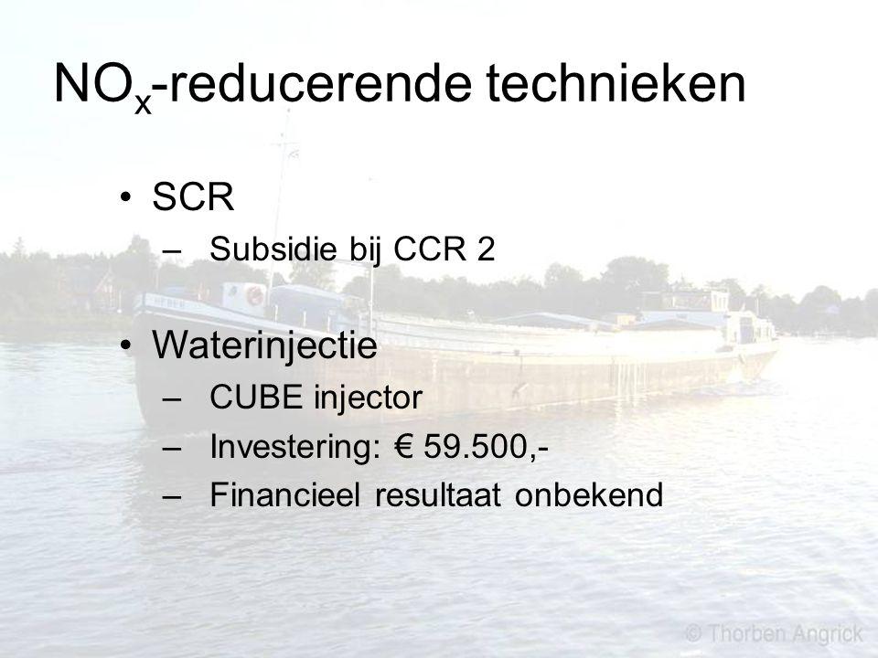 NO x -reducerende technieken SCR – Subsidie bij CCR 2 Waterinjectie – CUBE injector – Investering: € 59.500,- – Financieel resultaat onbekend