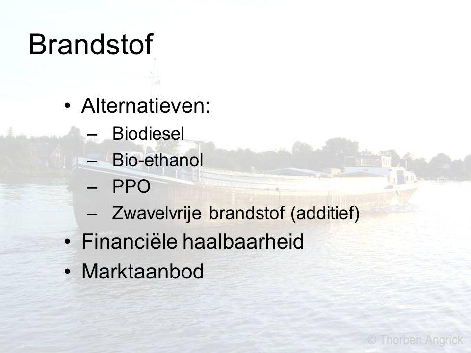 Brandstof Alternatieven: – Biodiesel – Bio-ethanol – PPO – Zwavelvrije brandstof (additief) Financiële haalbaarheid Marktaanbod