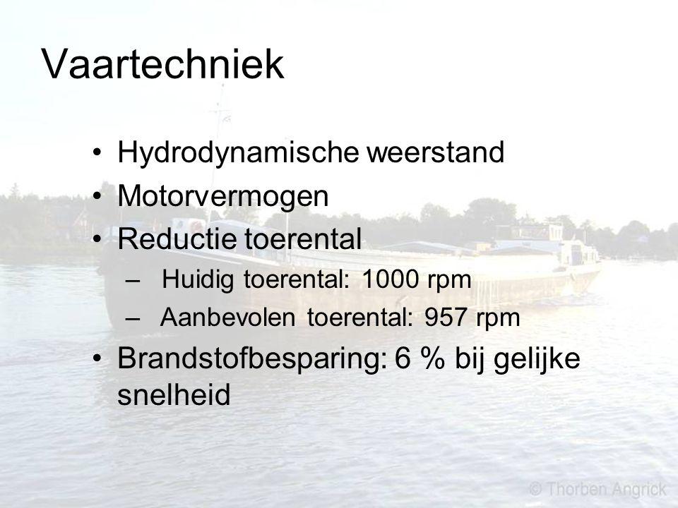Vaartechniek Hydrodynamische weerstand Motorvermogen Reductie toerental – Huidig toerental: 1000 rpm – Aanbevolen toerental: 957 rpm Brandstofbesparin