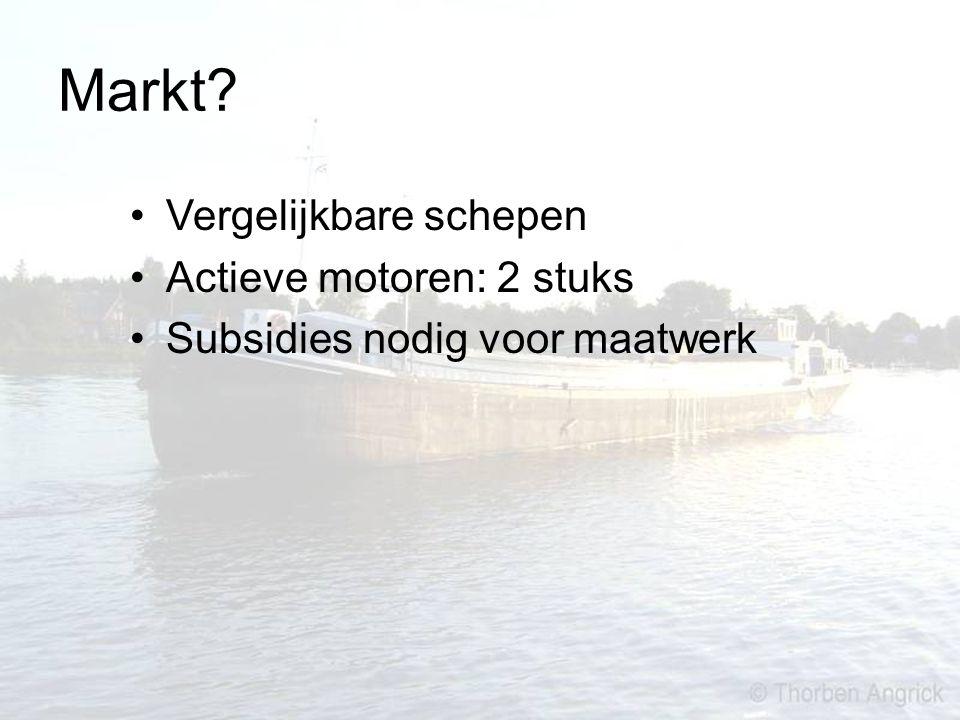 Markt? Vergelijkbare schepen Actieve motoren: 2 stuks Subsidies nodig voor maatwerk