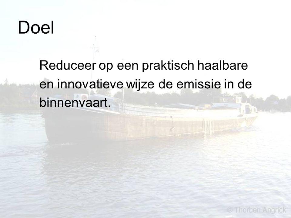Doel Reduceer op een praktisch haalbare en innovatieve wijze de emissie in de binnenvaart.