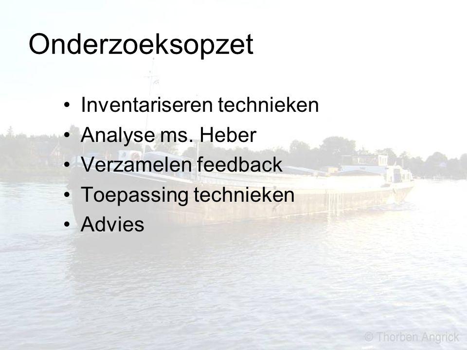 Onderzoeksopzet Inventariseren technieken Analyse ms. Heber Verzamelen feedback Toepassing technieken Advies