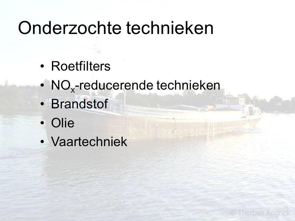 Onderzochte technieken Roetfilters NO x -reducerende technieken Brandstof Olie Vaartechniek