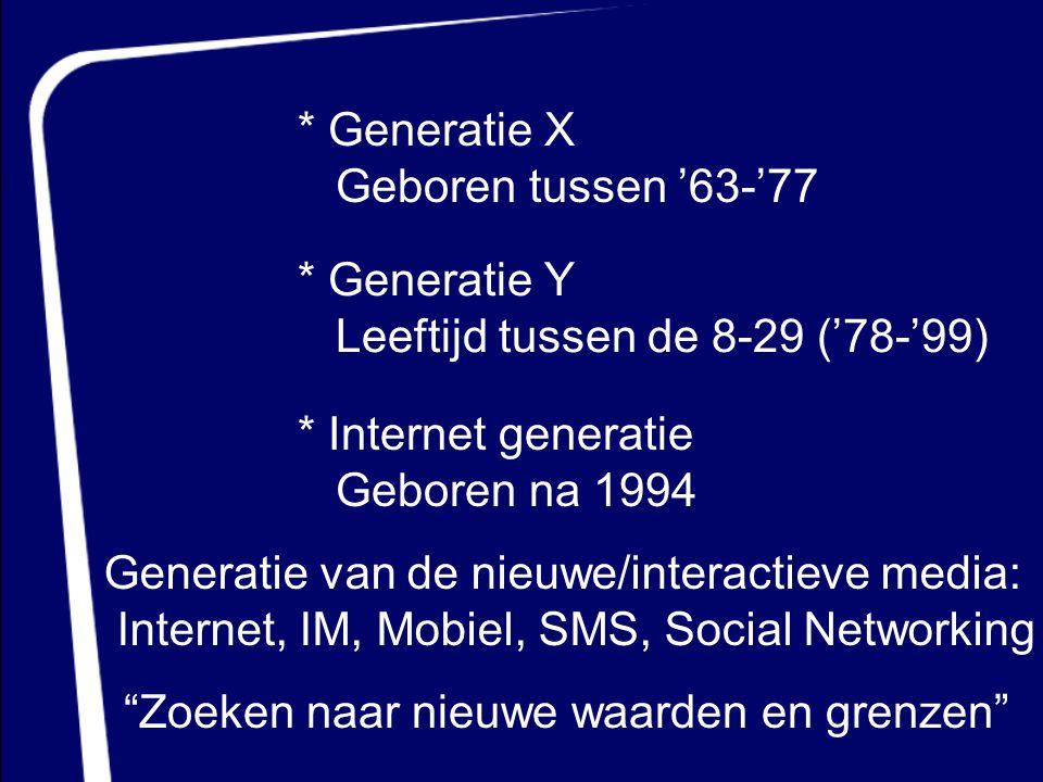 * Generatie Y Leeftijd tussen de 8-29 ('78-'99) * Internet generatie Geboren na 1994 * Generatie X Geboren tussen '63-'77 Generatie van de nieuwe/inte