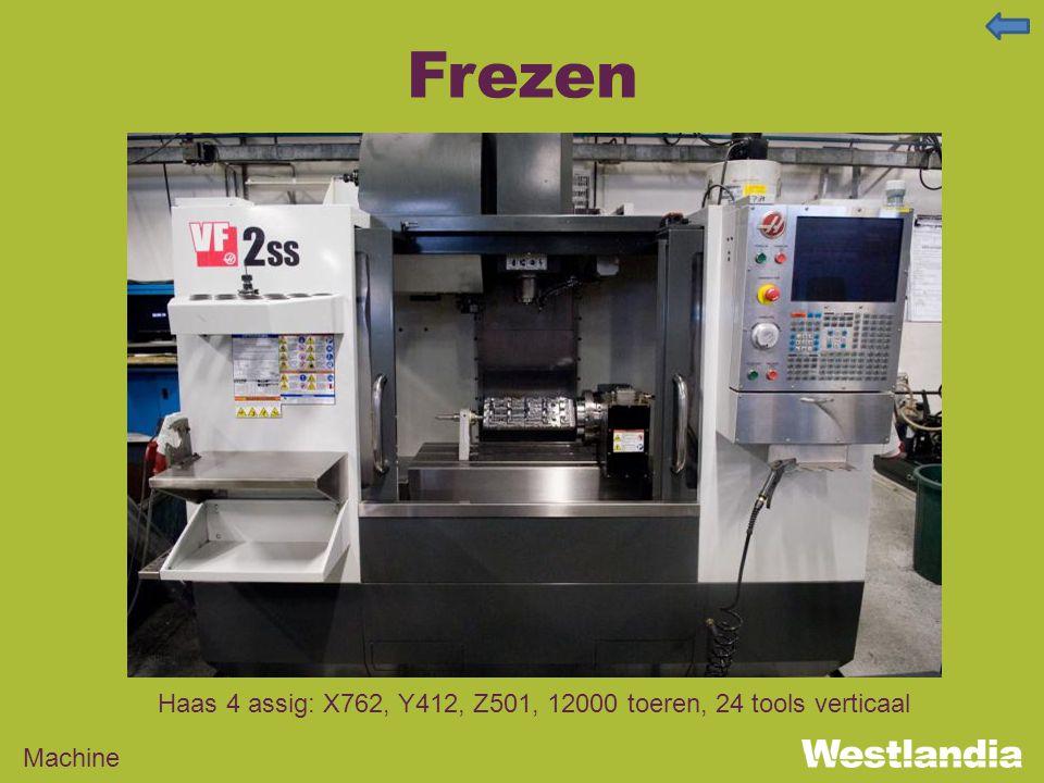 Frezen Machine Haas 4 assig: X762, Y412, Z501, 12000 toeren, 24 tools verticaal