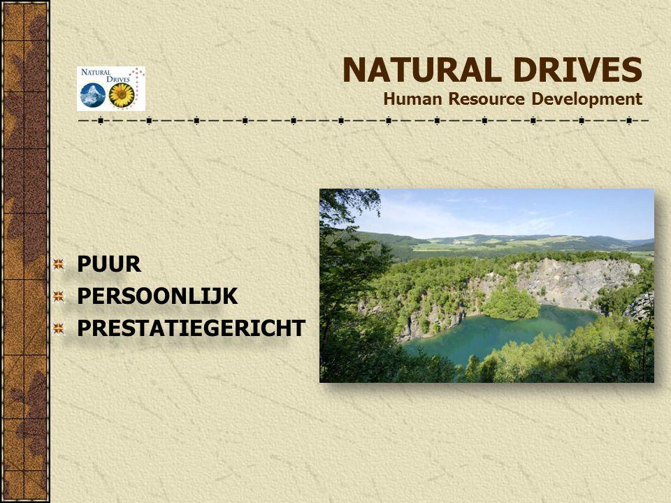 NATURAL DRIVES Human Resource Development PUUR PERSOONLIJK PRESTATIEGERICHT PUUR PERSOONLIJK PRESTATIEGERICHT