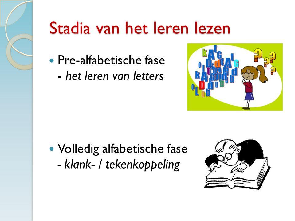 Stadia van het leren lezen Pre-alfabetische fase - het leren van letters Volledig alfabetische fase - klank- / tekenkoppeling
