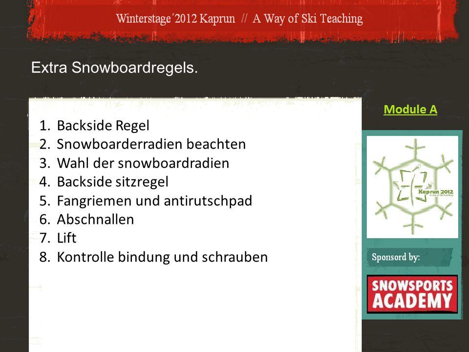 Extra Snowboardregels. 1.Backside Regel 2.Snowboarderradien beachten 3.Wahl der snowboardradien 4.Backside sitzregel 5.Fangriemen und antirutschpad 6.