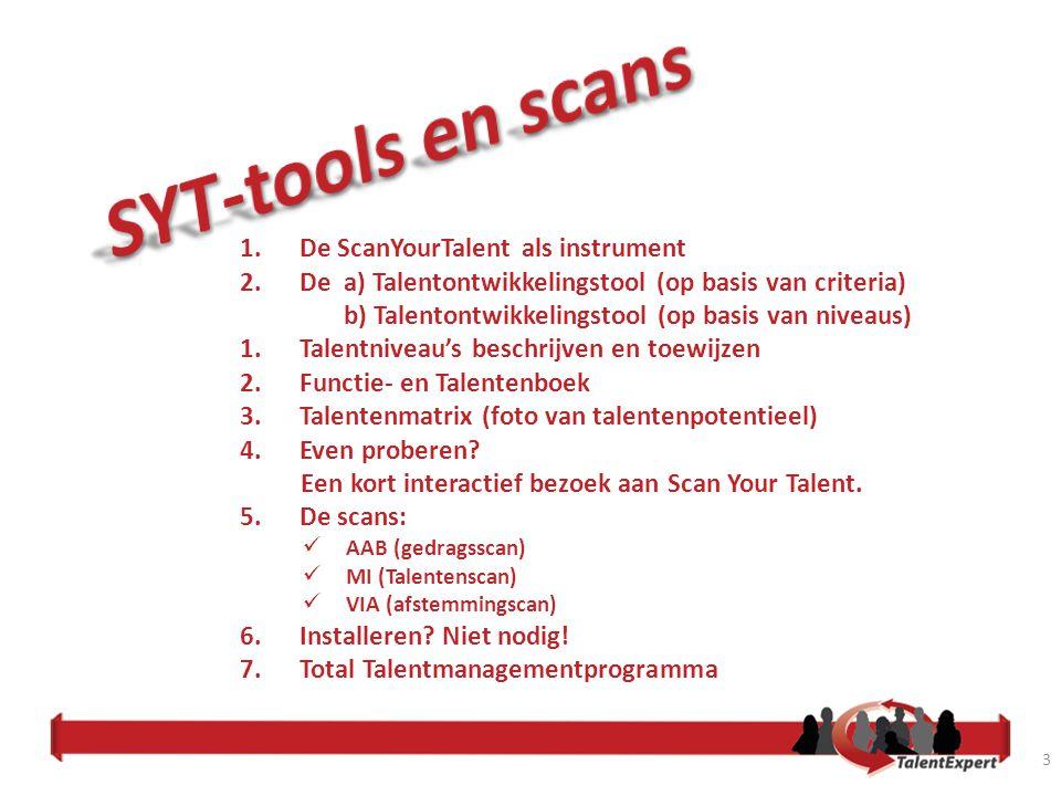 4 Scan Your Talent als instrument Scan Your Talent is een programma gericht op talentontwikkeling voor de gehele organisatie en wordt ondersteund door unieke op uw organisatie toegespitste software.