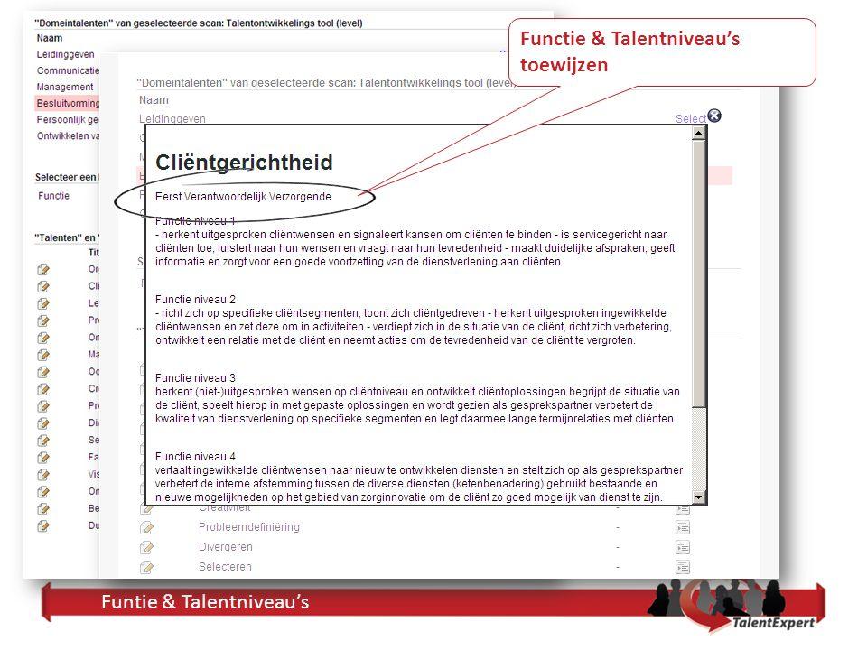 Funtie & Talentniveau's Functie & Talentniveau's toewijzen