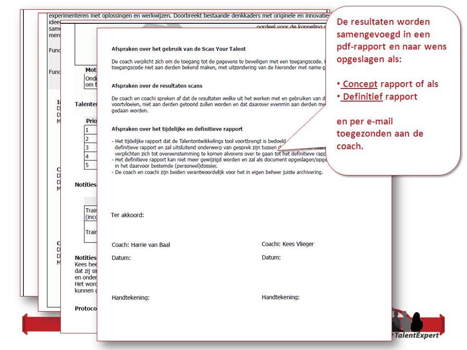 De resultaten worden samengevoegd in een pdf-rapport en naar wens opgeslagen als: Concept rapport of als Definitief rapport en per e-mail toegezonden