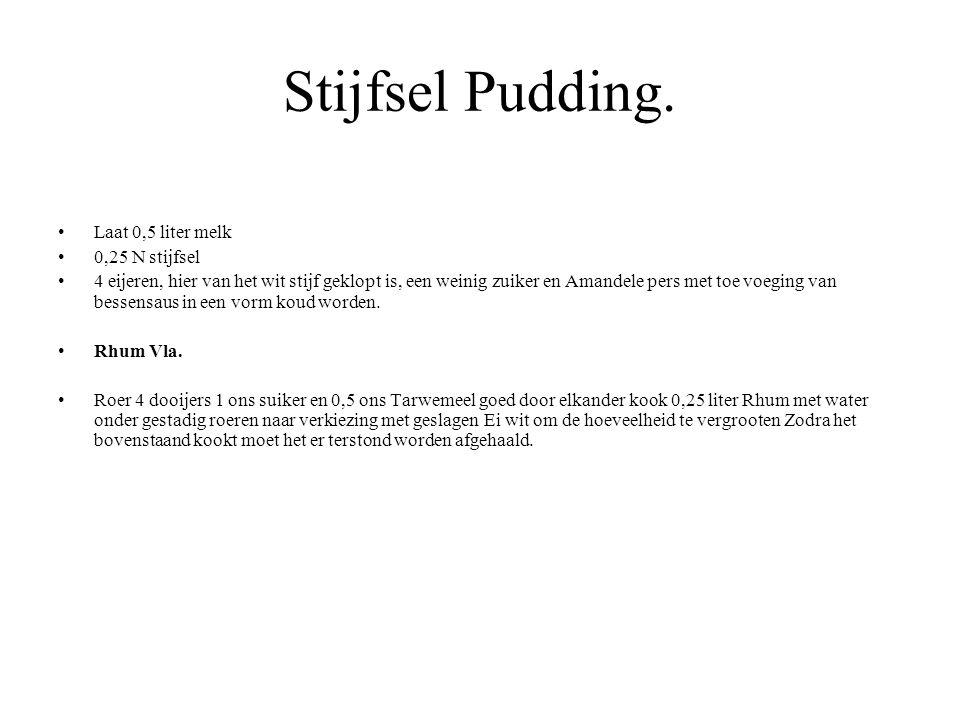 Stijfsel Pudding. Laat 0,5 liter melk 0,25 N stijfsel 4 eijeren, hier van het wit stijf geklopt is, een weinig zuiker en Amandele pers met toe voeging