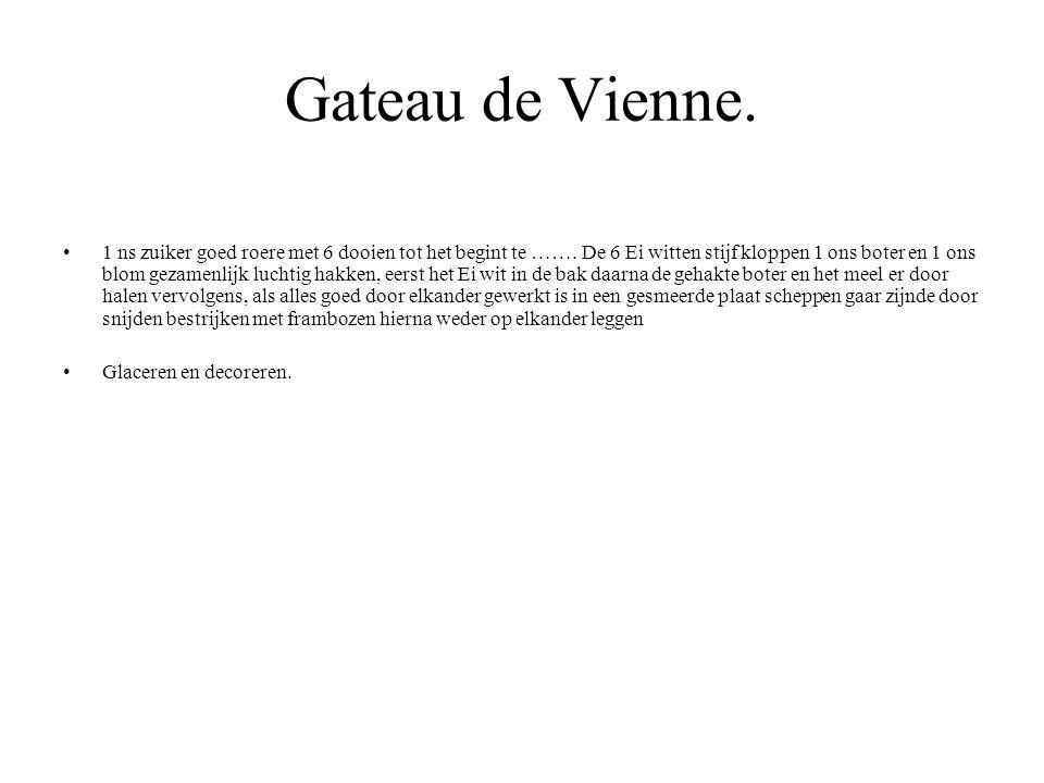 Gateau de Vienne. 1 ns zuiker goed roere met 6 dooien tot het begint te ……. De 6 Ei witten stijf kloppen 1 ons boter en 1 ons blom gezamenlijk luchtig