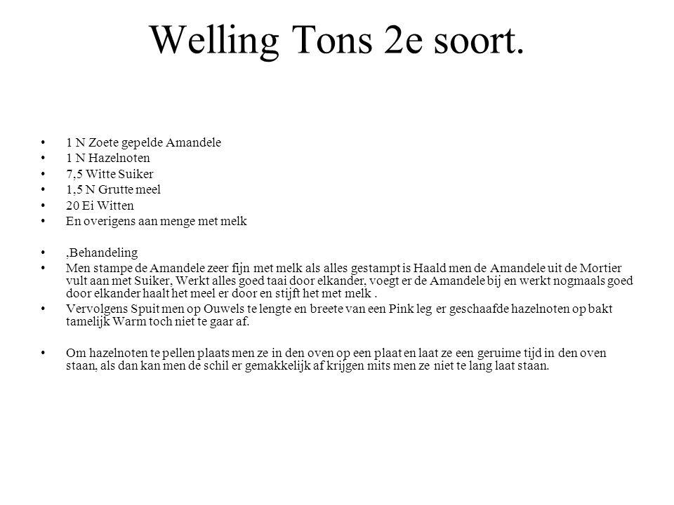Welling Tons 2e soort. 1 N Zoete gepelde Amandele 1 N Hazelnoten 7,5 Witte Suiker 1,5 N Grutte meel 20 Ei Witten En overigens aan menge met melk,Behan