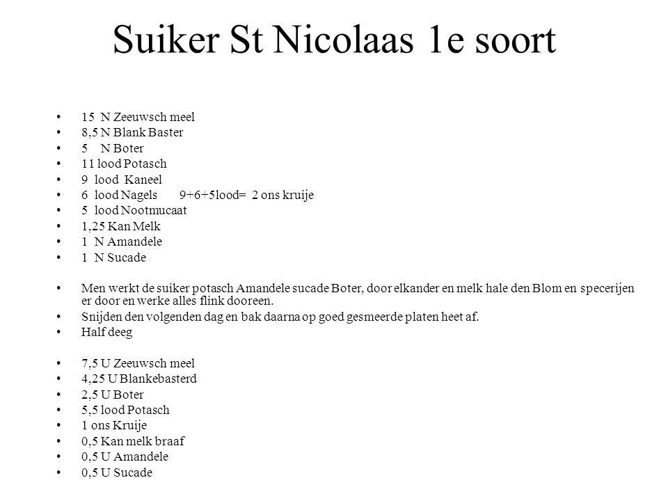 Suiker St Nicolaas 1e soort 15 N Zeeuwsch meel 8,5 N Blank Baster 5 N Boter 11 lood Potasch 9 lood Kaneel 6 lood Nagels 9+6+5lood= 2 ons kruije 5 lood