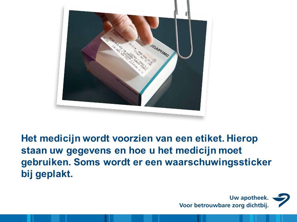 Het medicijn wordt voorzien van een etiket. Hierop staan uw gegevens en hoe u het medicijn moet gebruiken. Soms wordt er een waarschuwingssticker bij