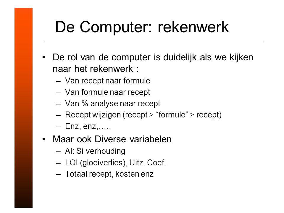De Computer: rekenwerk De rol van de computer is duidelijk als we kijken naar het rekenwerk : –Van recept naar formule –Van formule naar recept –Van % analyse naar recept –Recept wijzigen (recept > formule > recept) –Enz, enz,…..