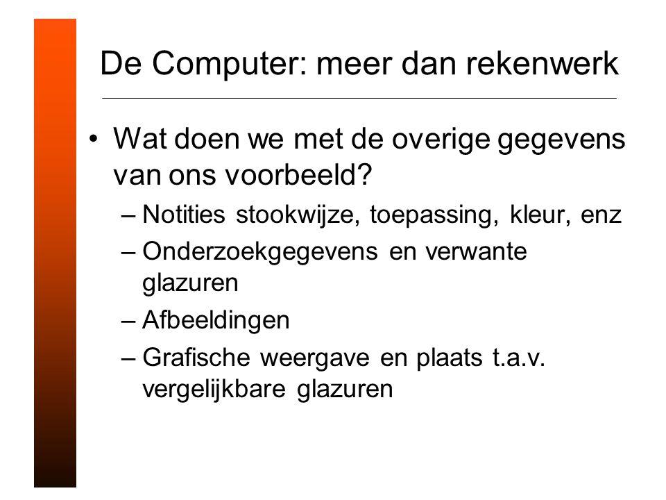 De Computer: meer dan rekenwerk Wat doen we met de overige gegevens van ons voorbeeld.
