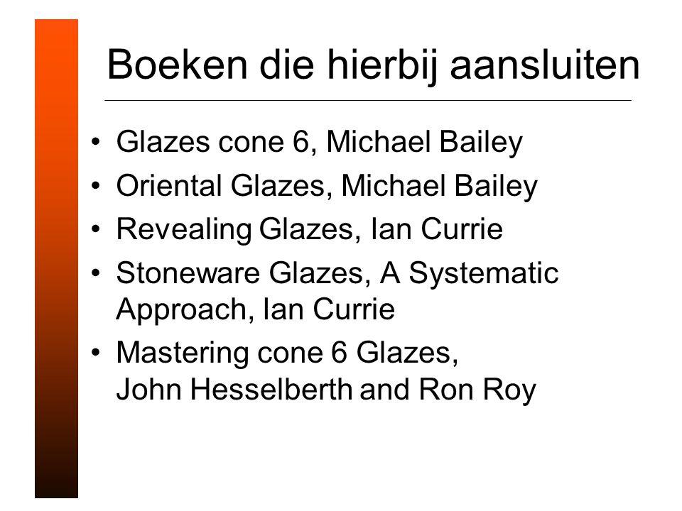 Boeken die hierbij aansluiten Glazes cone 6, Michael Bailey Oriental Glazes, Michael Bailey Revealing Glazes, Ian Currie Stoneware Glazes, A Systematic Approach, Ian Currie Mastering cone 6 Glazes, John Hesselberth and Ron Roy